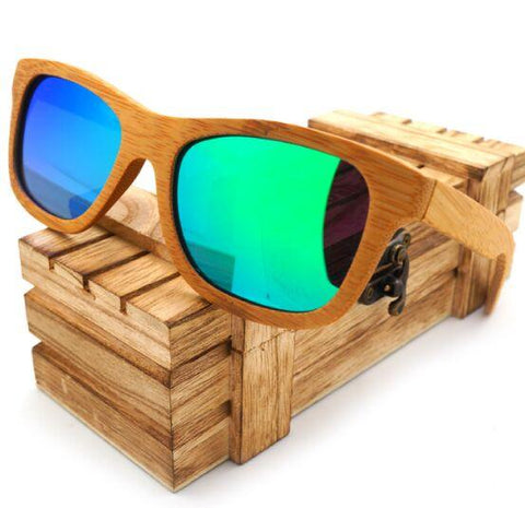 Handmade Bamboo Blue Mirrored Polarized Sunglasses - Unisex, Sunglasses - Unisex - UREGALO