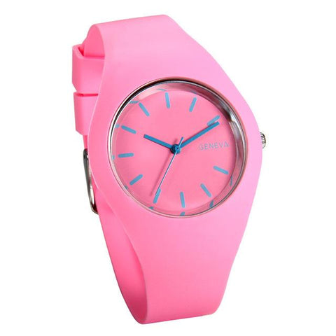 Silicon Strap Quartz Watch for Women - Pink
