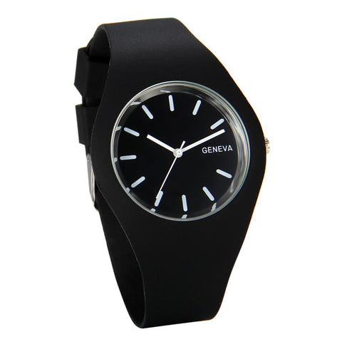 Silicon Strap Quartz Watch for Women - Black, Watch - Women - UREGALO