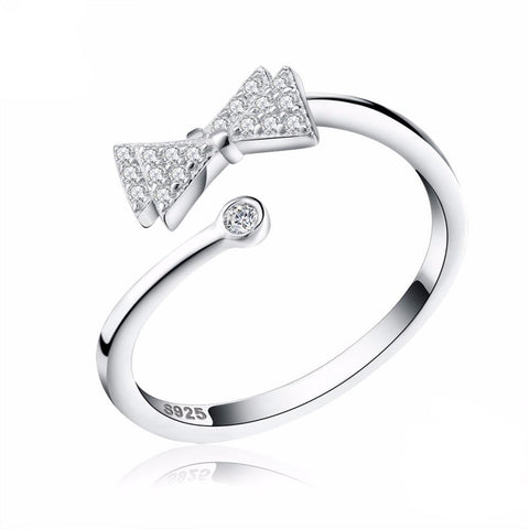 Women's Crystal Twin Bow Adjustable Silver Ring, Ring - Women - UREGALO
