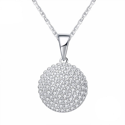 Round CZ Pendant Sterling Silver Necklace