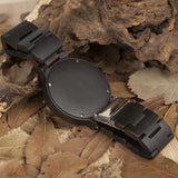 Two Toned Luminous Face Wooden Watch For Men - Ebony, Watch - Men - UREGALO