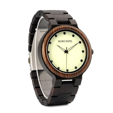 Two Toned Luminous Face Wooden Watch For Men - Ebony