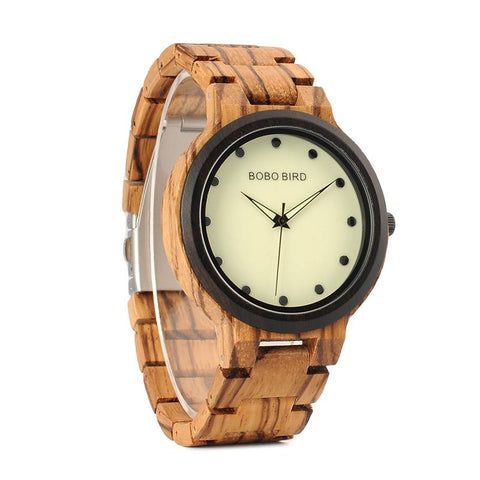 Two Toned Luminous Face Wooden Watch For Men - Oak, Watch - Men - UREGALO