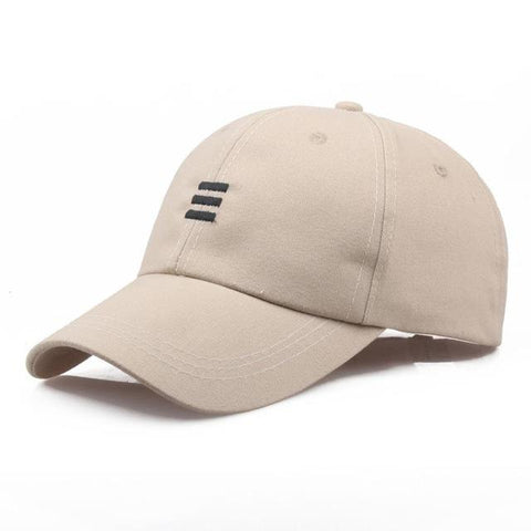 Three Dash Embroidery Baseball Cap - Beige, Cap - Unisex - UREGALO
