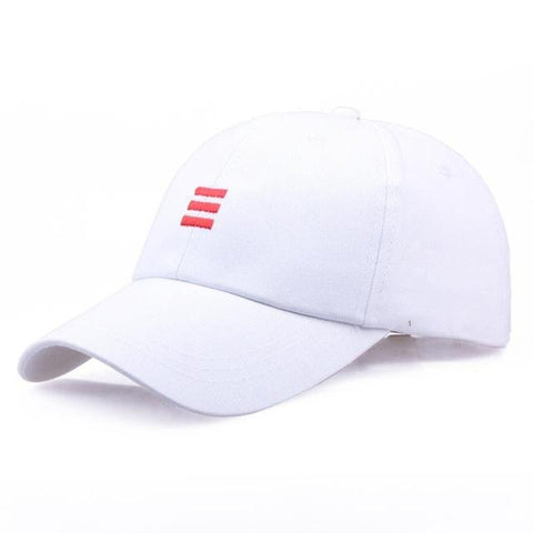 Three Dash Embroidery Baseball Cap - White, Cap - Unisex - UREGALO