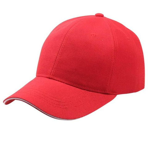 Solid Red Adjustable Baseball Cap - Unisex