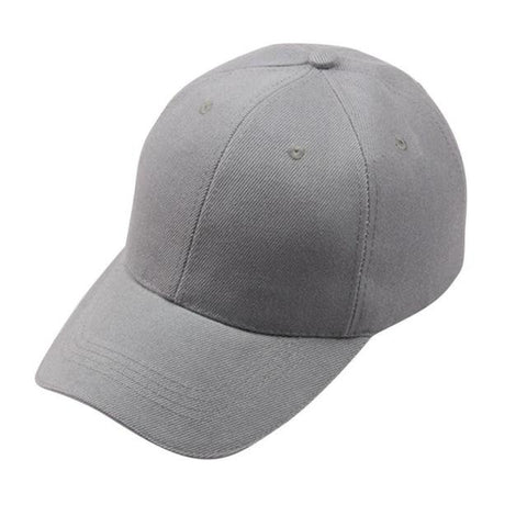 Solid Grey Adjustable Baseball Cap - Unisex, Cap - Unisex - UREGALO
