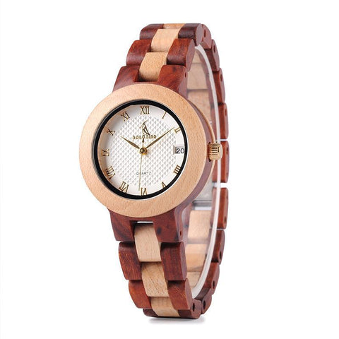 Two-tone Wooden Watch With Date for Women - Mahogany