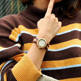 Two-tone Wooden Watch With Date for Women - Mahogany, Watch - Women - UREGALO