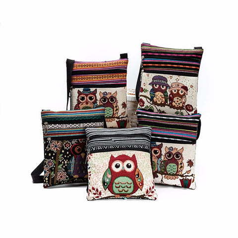 Embroidered Owl Tote Womens Shoulder Bag,  - UREGALO