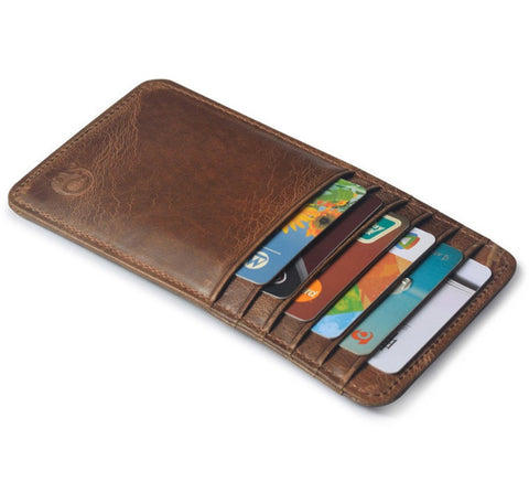 Elongated Slim Leather Card Holder,  - UREGALO