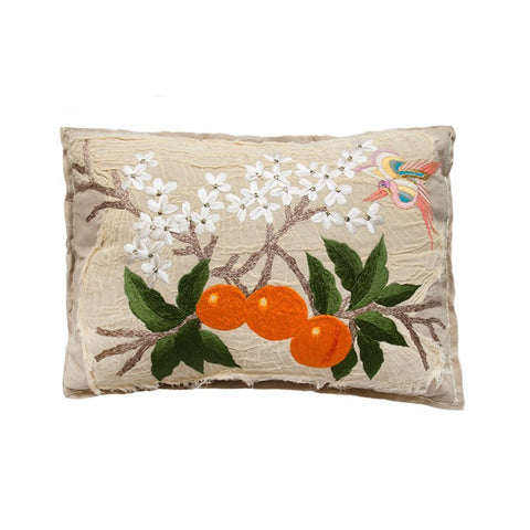 Bokja Embroidered Orange Blossom Cushion
