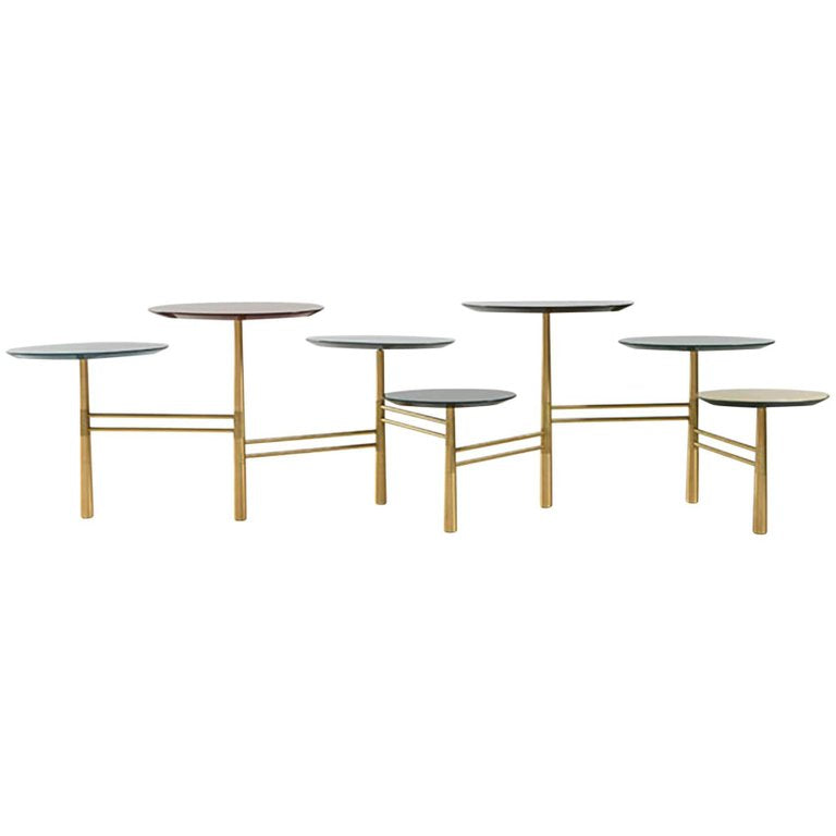 Nada Debs Pebble Low Table, Lacquered Wood, Brushed Brass Base