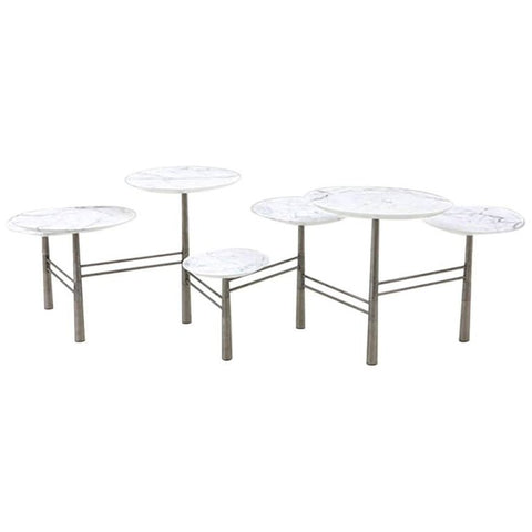 Nada Debs Pebble Low Coffee Table, White Marble, Stainless Steel Legs