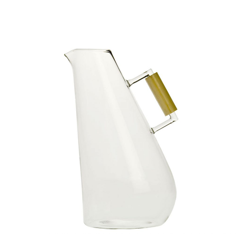 Tess, Blown Glass Carafe w/ Wooden Handle, Tall
