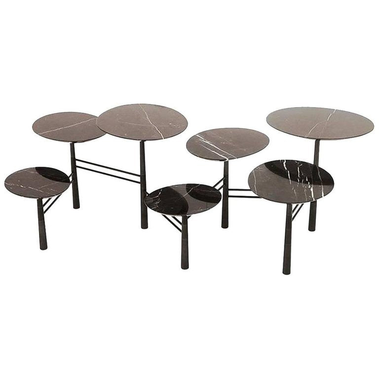 Nada Debs Pebble Table, Black Marble, Blackened Steel Base
