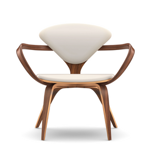 Cherner Lounge Chair w/ Arms, Natural Walnut, Velluto Leather, White