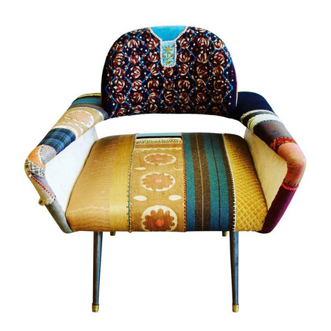 Bokja Couture Armchair, Multicolored Embroidered Fabric