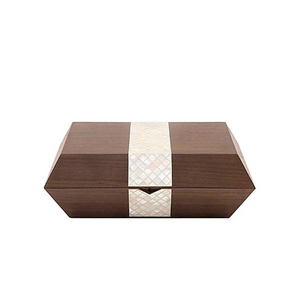 Nada Debs Stripes Cigar Box - Walnut / Mother-of-Pearls