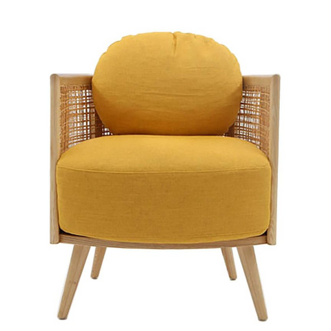Nada Debs Summerland Armchair - Ashwood Straw, Yellow Fabric