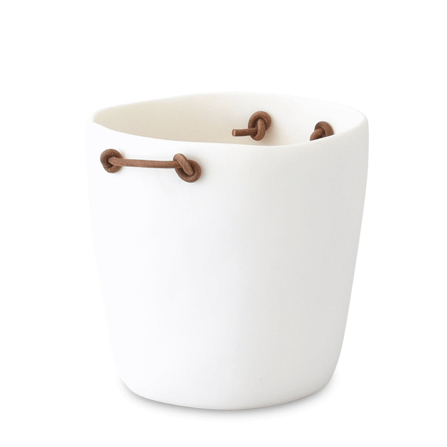 Tina Frey Champagne Bucket w Leather, White