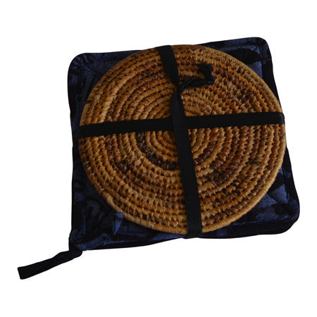 Dried Banana Fiber Pot Holder + Oven Mitt Combo