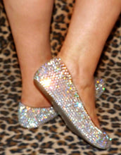 Bedazzled Swarovski Ballet Flats In Nude With AB Crystals