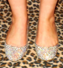 Bedazzled Ballet Flats In Nude With Gold Crystals