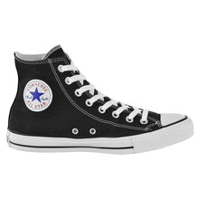 All Star Mono Black High Top Style Converse With Jet Black Crystal & Ribbon Laces