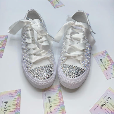 Diamonds & Pearls Monochrome Converse With White Ribbon Laces