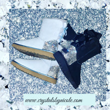 Baby Blue UGG Bailey Bow Short Boots With Swarovski Crystals