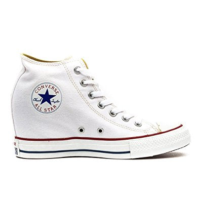 All Star Original High Top Wedges Style Converse With Diamonds & Red Ribbon Laces