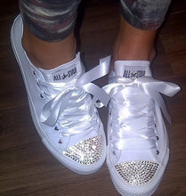 All Star Converse With AB Crystal & Pink Ribbon Laces