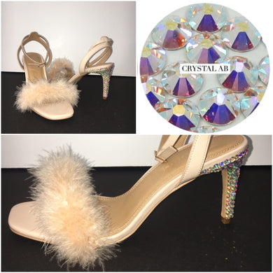 HollyWood Glam Nude Feather & Swarovski Crystal AB Heels