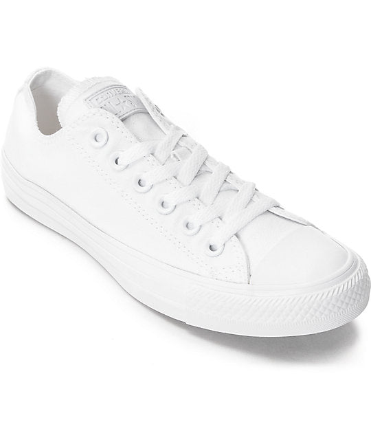 All Star Mono White Converse With Pearls & AB Diamonds With White Ribbon Laces