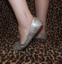 Bedazzled Ballet Flats In Nude With Crystals