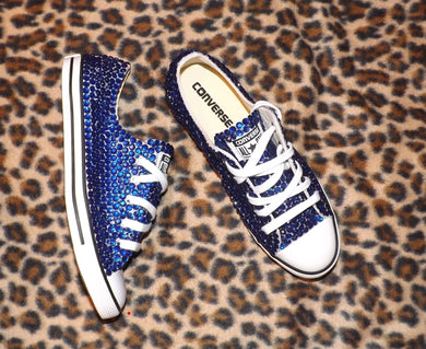 Dainty Converse With Sapphire Blue Crystal Diamonds With Ribbon Laces Combo
