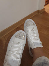 All Star Converse With AB Crystal & Gold Ribbon Laces