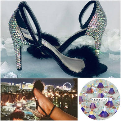 HollyWood Glam Black Feather & Swarovski Crystal AB Heels
