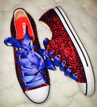 All Star Red Converse With Siam Red Crystals & Royal Blue Ribbon Lace Combo