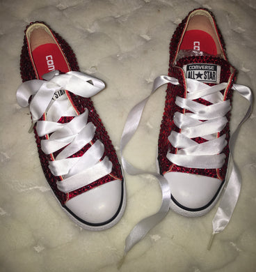 All Star Red Converse With Siam Red Crystals & White Ribbon Lace Combo