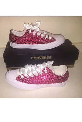 All Star Mono White Converse With Rose Pink Crystals & White Ribbon Lace Combo