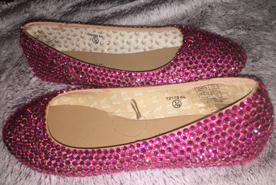 Bedazzled Ballet Flats In Nude With Rose Pink Crystals