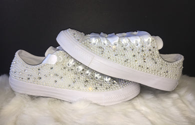 All Star Mono Converse With Pearls Diamonds & White Ribbon Laces