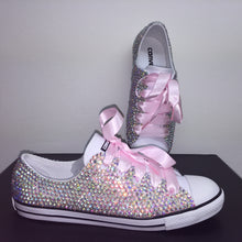 Dainty Converse With AB Crystal Diamonds With Baby Pink Ribbon Laces