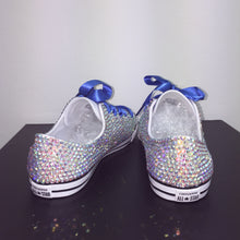 Dainty Converse With AB Crystal Diamonds With Royal Blue Ribbon Laces