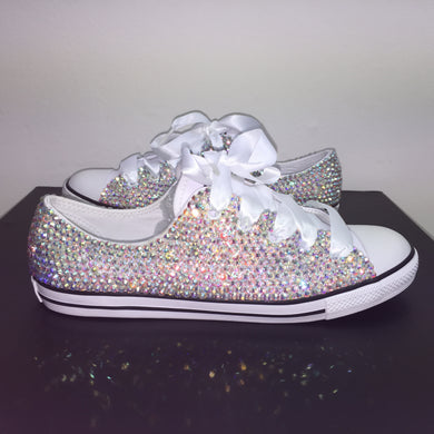 Dainty Converse With AB Crystal Diamonds With White Ribbon Laces