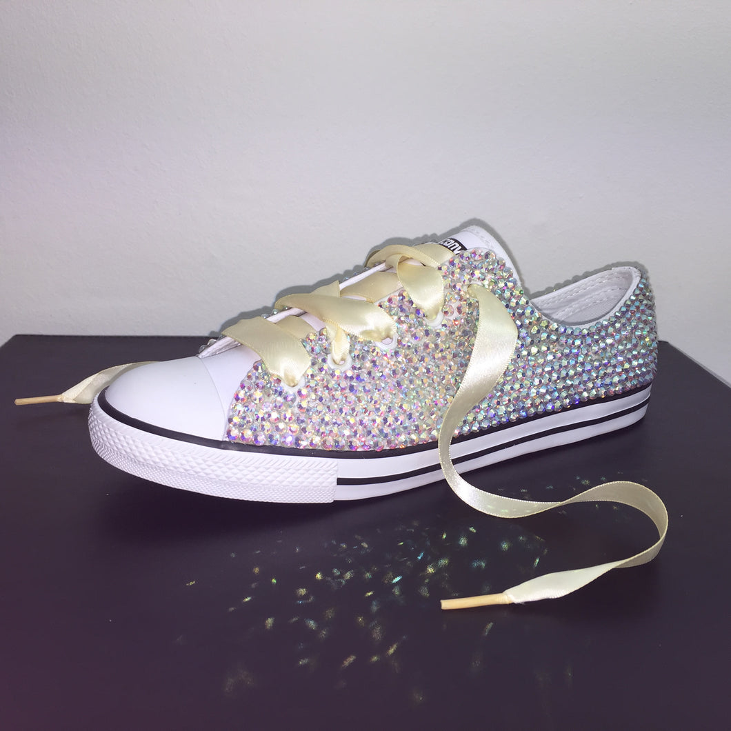 0f814420f3e8 ... ivory converse crystals by nicole  Dainty Converse With AB Crystal  Diamonds With Ivory Ribbon Laces  Custom Crystal Colour Chart ...