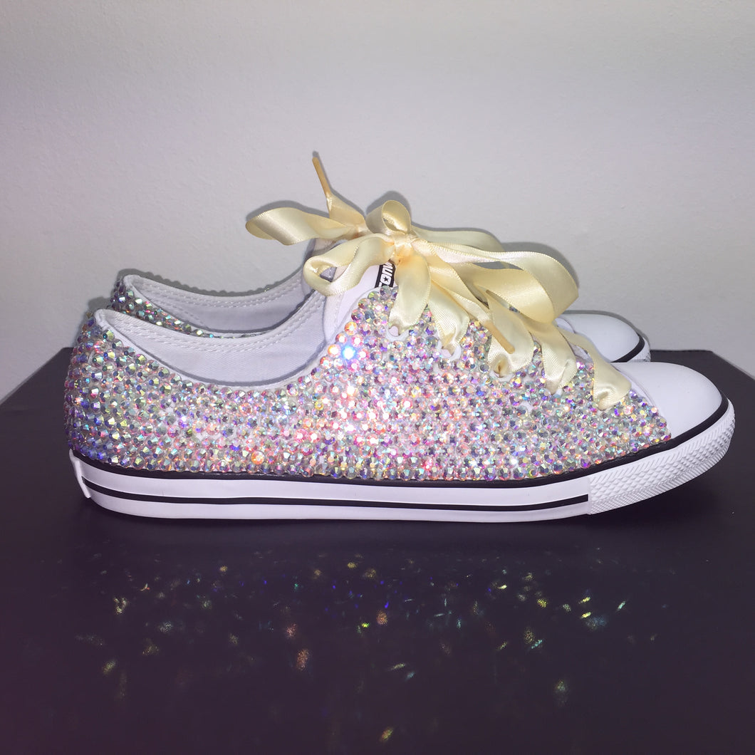 9b62fa7e1184 ... Dainty Converse With AB Crystal Diamonds With Ivory Ribbon Laces ...